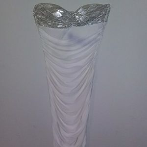 White & silver sprakle strapless mini dress